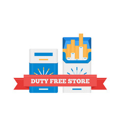 flat icon of duty free cigarette packs at vector image