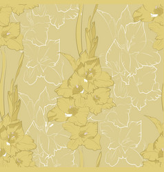 flower seamless pattern from yellow gladiolus vector image vector image