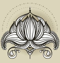 Freehand drawing of lotus in east style vector