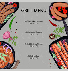 Grilled sausages menu vector