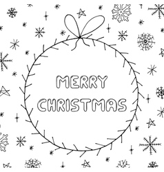 Hand drawn greeting card in doodle stylechristmas vector