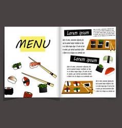 japanese cuisine restaurant menu template vector image vector image