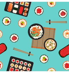 Japanese food sea food sushi background seamless vector