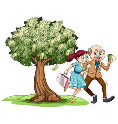 Love couple and money on tree vector