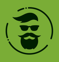 monochrome hipster with beard glasses haircut vector image vector image