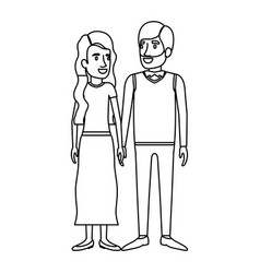 Monochrome silhouette of man and woman standing vector