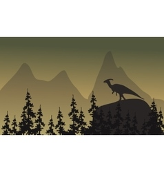 On cliff parasaurolophus silhouette vector image vector image