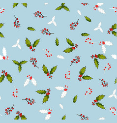 pattern with holly branches vector image vector image