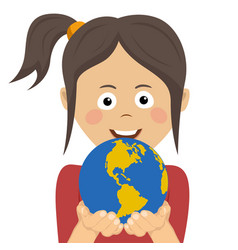 peaceful young girl holding planet earth with care vector image