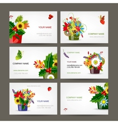 Postcard collection with floral pots for your vector image