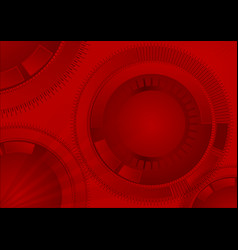 Red geometric technology background with circle vector