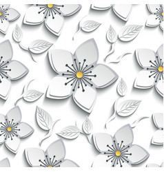 Seamless pattern with white grey 3d sakura vector