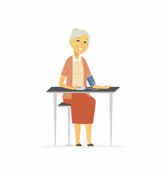 senior woman measures blood pressure - cartoon vector image