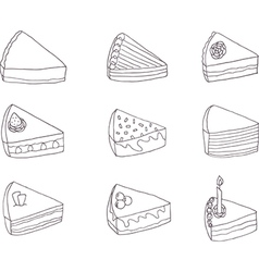 Set of nine fancy cakes vector image vector image