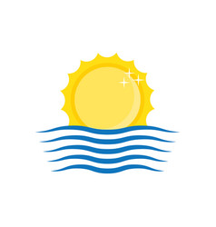 sun and wave icon vector image