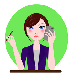 Support manager admin secretary girl icon in vector