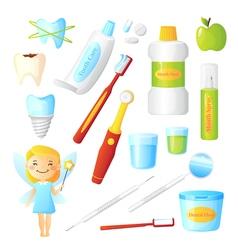 Teeth healthy dentist set vector