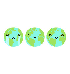 Three planets earth with different faces vector