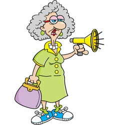 Cartoon old lady with a megaphone vector image