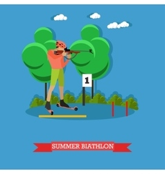 Sport shooting banner summer biathlon competition vector