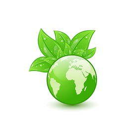 Global planet and eco green leaves isolated on vector image