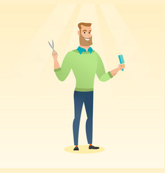 barber holding comb and scissors in hands vector image