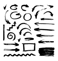 Set of different hand drawn grunge brush strokes vector