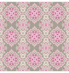 Seamless pattern damask pink vector