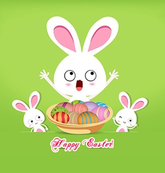 Happy easter with basket of eggs and bunny vector
