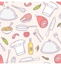Doodle food seamless pattern in culinary vector