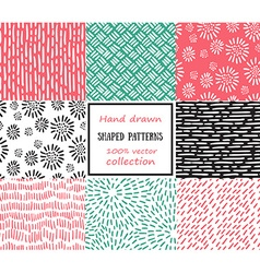 Set of seamless stroke patterns hand-drawn vector