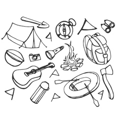 Doodle set of adventure vector