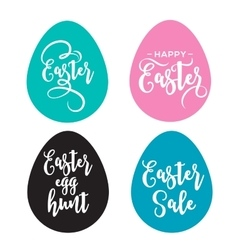 Happy easter greeting card with eggs and lettering vector