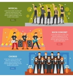 Popular music horizontal banners vector