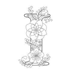 Letter i coloring book for adults vector