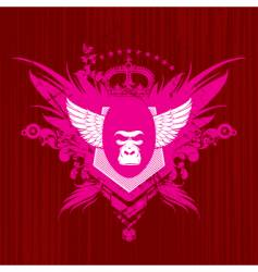 heraldry with gorilla head vector image