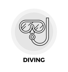 Diving line icon vector