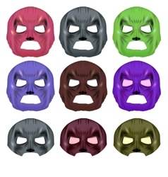 Set of colorful superhero mask vector