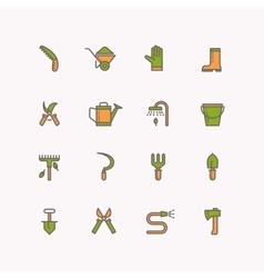 linear icons of garden tools vector image