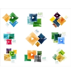 Collection of colorful square web boxes vector
