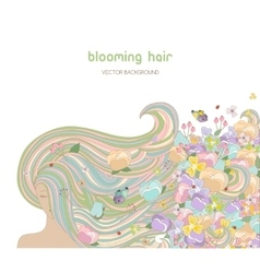 Beautiful woman with blooming hair vector