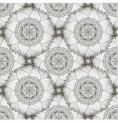 Black and white seamless pattern with sunflowers vector