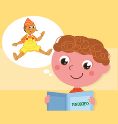Boy reading pinocchio book vector