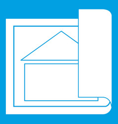 Building plan icon white vector