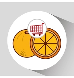 Cart shopping fruit orange icon graphic vector