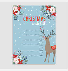 Cute christmas wish list with deer winter floral vector
