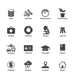 Data type icon set different kinds of data vector