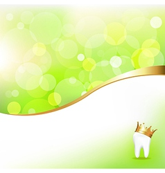 Dental background with tooth in golden crown vector