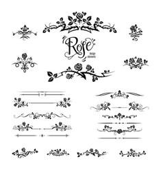 Elegant black roses design vector