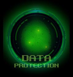 fingerprint and data protection on digital screen vector image